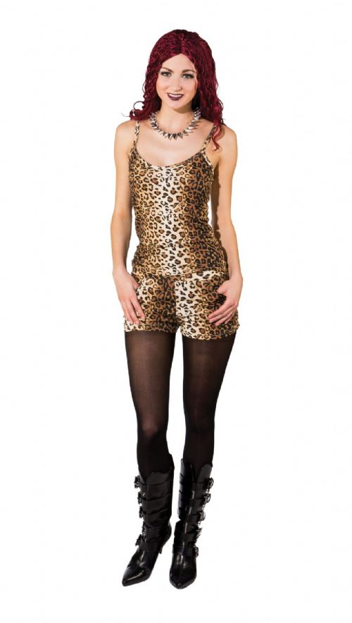Ladies Leopard Vest Top 80s 90s Scary Spice Fancy Dress Outfit